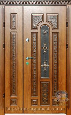 двери ПАТИНА полуторные наружные с ковкой № 1 с Vinorit-90, модель БП-6