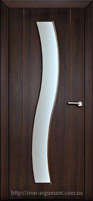 межкомнатные двери ВОЛНА со стеклом ТМ Неман, орех шоколадный