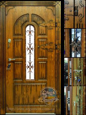 входные двери наружные КАНТРИ с ковкой №1 в цвете Vinorit-90, модель СД 9