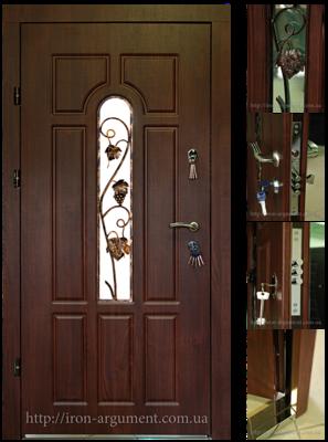 двери входные ЭЛИТ с ковкой-7 в цвете Vinorit-37, модель Б-148