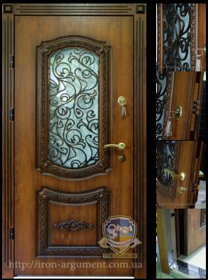 входные двери наружные ПАТИНА с ЛЕПНИНОЙ БЛ-1 и элементами ковки №5+, в цвете Vinorit-90