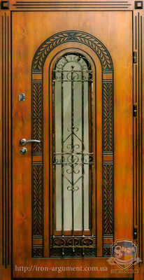 двери ПАТИНА с ковкой №25 наружные с пленкой Vinorit-90, модель БП-1
