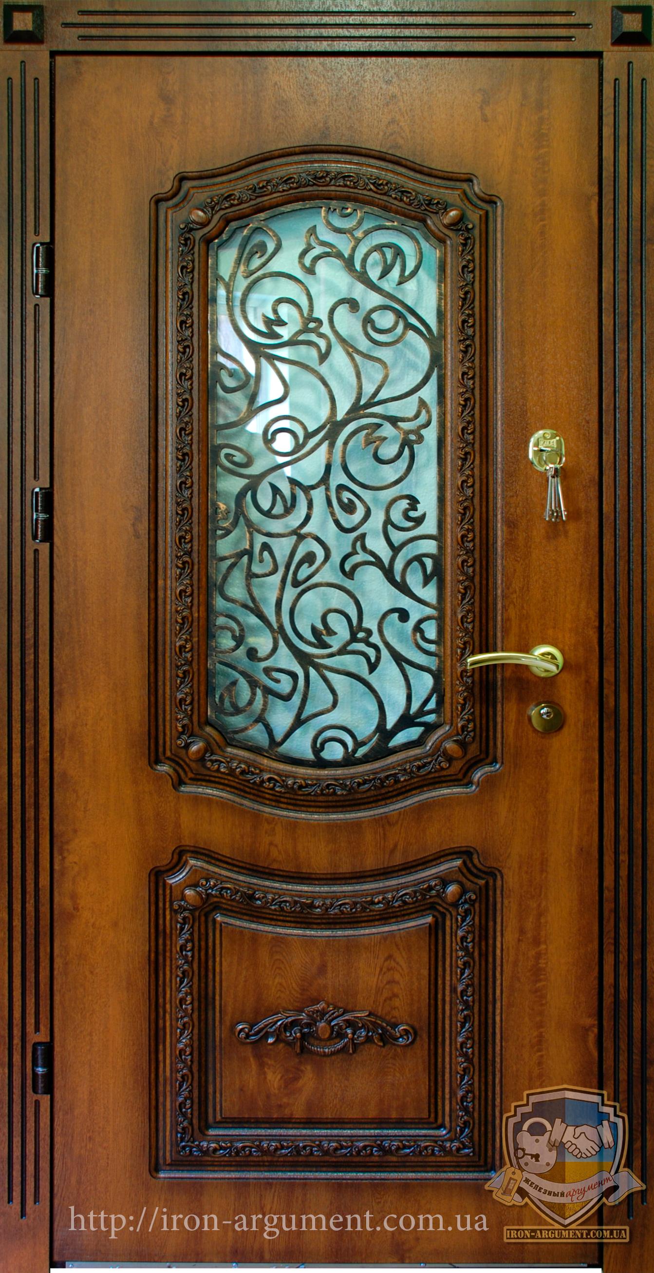 входные бронированные двери с элементами ковки лоза
